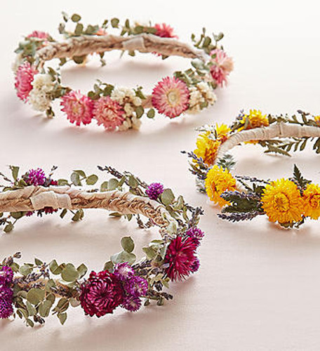Create a boho beautiful look with our set of three preserved floral crowns. Both ethereal & elegant, each is made with love and hand-crafted from dried natural blooms in soft, delicate shades of pink, yellow or purple to make your crowning moment one to remember.