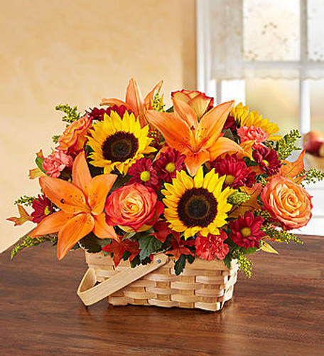 Fields of Europe™ for Fall Basket Inspired by the rustic beauty of the European countryside, our best-selling autumn bouquet is gathered with fresh-picked flowers in a charming basket. Shades of golden yellow, warm orange and rich red pop against lush greenery, creating a thoughtful gift that lets them know they're on your mind and in your heart.