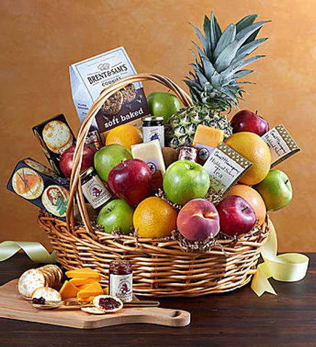 Deluxe Fruit & Gourmet Basket It's a surefire way to become the apple of their eye. Send our florist-designed basket of fresh fruit and delicious gourmet snacks, including such delicacies as grapefruit, apples, pears, cookies, crackers, sausage, cheese and more.