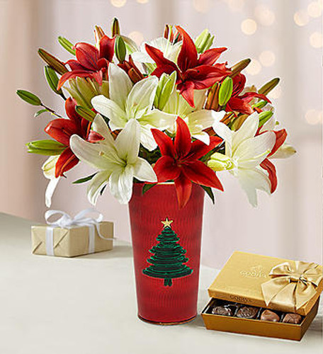 Our vibrant red & white lilies capture the joy of the holiday spirit. Featuring multiple blooms on each stem, our bright bouquet will bring an abundance of good cheer.  7-stem bouquet of red and white Asiatic lilies, for a total of 25 blooms Send a double bouquet of 14 stems for a total of 50 blooms Picked at their peak on our premier farms, lilies are shipped overnight to ensure freshness and arrive budding to provide lasting beauty and enjoyment; will bloom fully in 1-2 days, depending on care