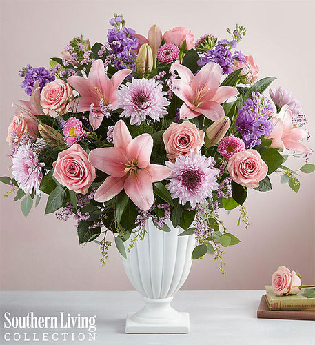 EXCLUSIVE There is nothing more precious than a comforting gesture during a difficult time. Created in partnership with Southern Living, our Precious Pedestal arrangement is a soft, sophisticated design featuring graceful pink, lavender and white blooms, accented with lush greenery. All hand-gathered in an elegant pedestal vase, it makes a graceful and touching gift of condolence.