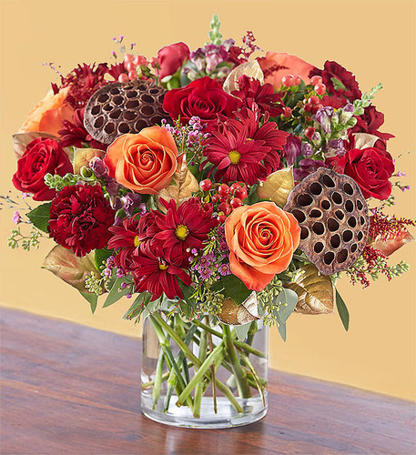Just as fall brings a swell of affection and gratitude, our vintage-inspired arrangement overflows with gorgeous autumn blooms. Deep, warm tones combine with rustic textures and design touches, such as gold tinted leaves. Handcrafted by our expert florists, it's a gift that will bring the beauty of the season into the hearts and homes of those you love.