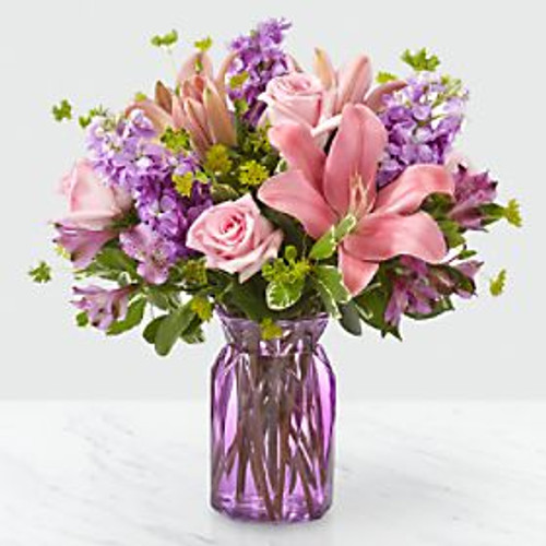 Full of Joy™ Bouquet. There's something about an alluring mix of pink and purple florals that put a spring in our step! Fresh alstroemeria, roses and stock add an array of beautiful texture in our Full of Joy ™ Bouquet. Its bursting hues and bright blooms are perfect to celebrate this season.