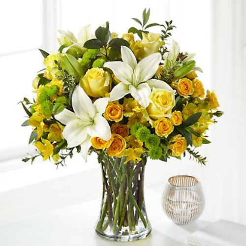 Whether it is a time of sensitivity or a celebration of life, our Hope & Serenity™ Bouquet evokes comfort with each bloom. A collection of lilies, roses and alstroemeria add freshness to your messages of love. While it's perfectly sweet in size, this pick is best suited for a small table or within a home.