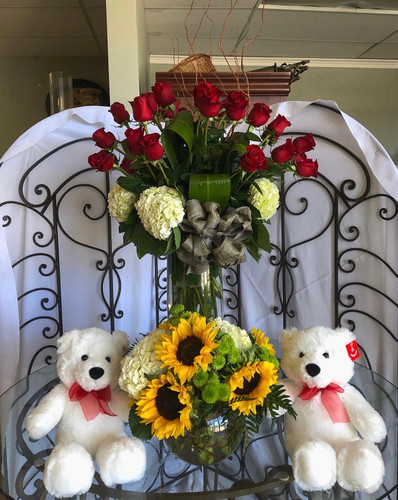 For My Love Bundle - 2 Dozen Roses and Sunflower Serenity with Large Plush