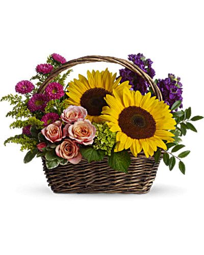 Large yellow sunflowers, peach roses, purple stock, miniature green hydrangea, and hot pink matsumoto asters are presented in a rectangular handled basket.