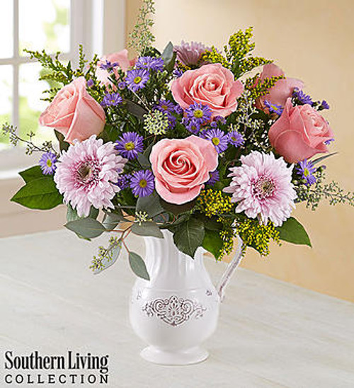 Her Special Day Bouquet™  EXCLUSIVE Make her special day one she'll always remember with our gorgeous, garden-inspired arrangement. Created in our exclusive partnership with Southern Living™, it features a feminine gathering of pink, purple and lavender blooms artistically designed inside our antique-inspired Charlotte pitcher. It's a piece she'll enjoy using again and again as an elegant serving vessel or decorative accent!