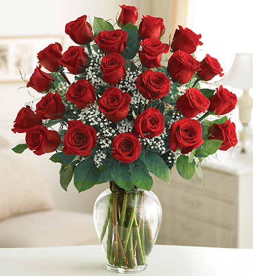 Because your loved one deserves a gift twice as romantic, send two dozen long-stem red roses, a fresh and fabulous bouquet beautifully arranged by our select florists in a classic glass vase. Simply unforgettable.