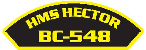 50 patches of HMS Hector BC-548.  Please be aware if this is the first run, 11 of those patches will be withheld for our legal obligation. After the initial order, all 50 patches will be shipped.