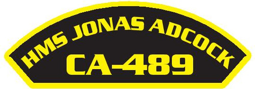 50 patches of HMS Jonas Adcock CA-489.  Please be aware if this is the first run, 11 of those patches will be withheld for our legal obligation. After the initial order, all 50 patches will be shipped.