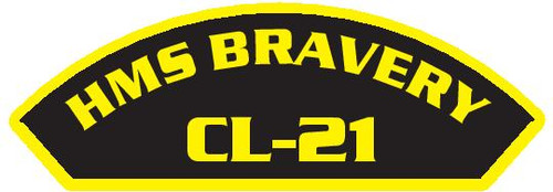 50 patches of HMS Bravery CL-21.  Please be aware if this is the first run, 11 of those patches will be withheld for our legal obligation. After the initial order, all 50 patches will be shipped.