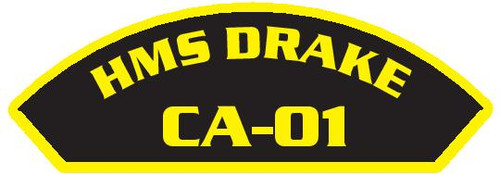 50 patches of HMS Drake CA-01.  Please be aware if this is the first run, 11 of those patches will be withheld for our legal obligation. After the initial order, all 50 patches will be shipped.