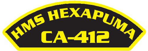 50 patches of HMS Hexapuma CA-412.  Please be aware if this is the first run, 11 of those patches will be withheld for our legal obligation. After the initial order, all 50 patches will be shipped.