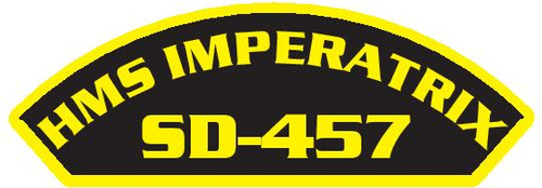 50 patches of HMS Imperatrix SD-457.  Please be aware if this is the first run, 11 of those patches will be withheld for our legal obligation. After the initial order, all 50 patches will be shipped.