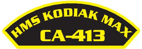 50 patches of HMS Kodiak Max CA-413.  Please be aware if this is the first run, 11 of those patches will be withheld for our legal obligation. After the initial order, all 50 patches will be shipped.