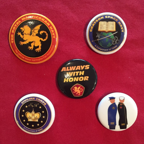 Pack of all 5 pin badge / pin button designs
