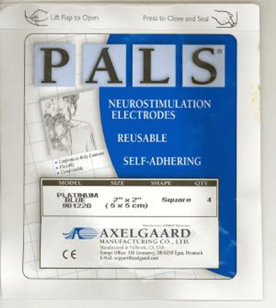 Pack of 4 PALS Blue Sensitive 50x50mm electrodes - pack shot