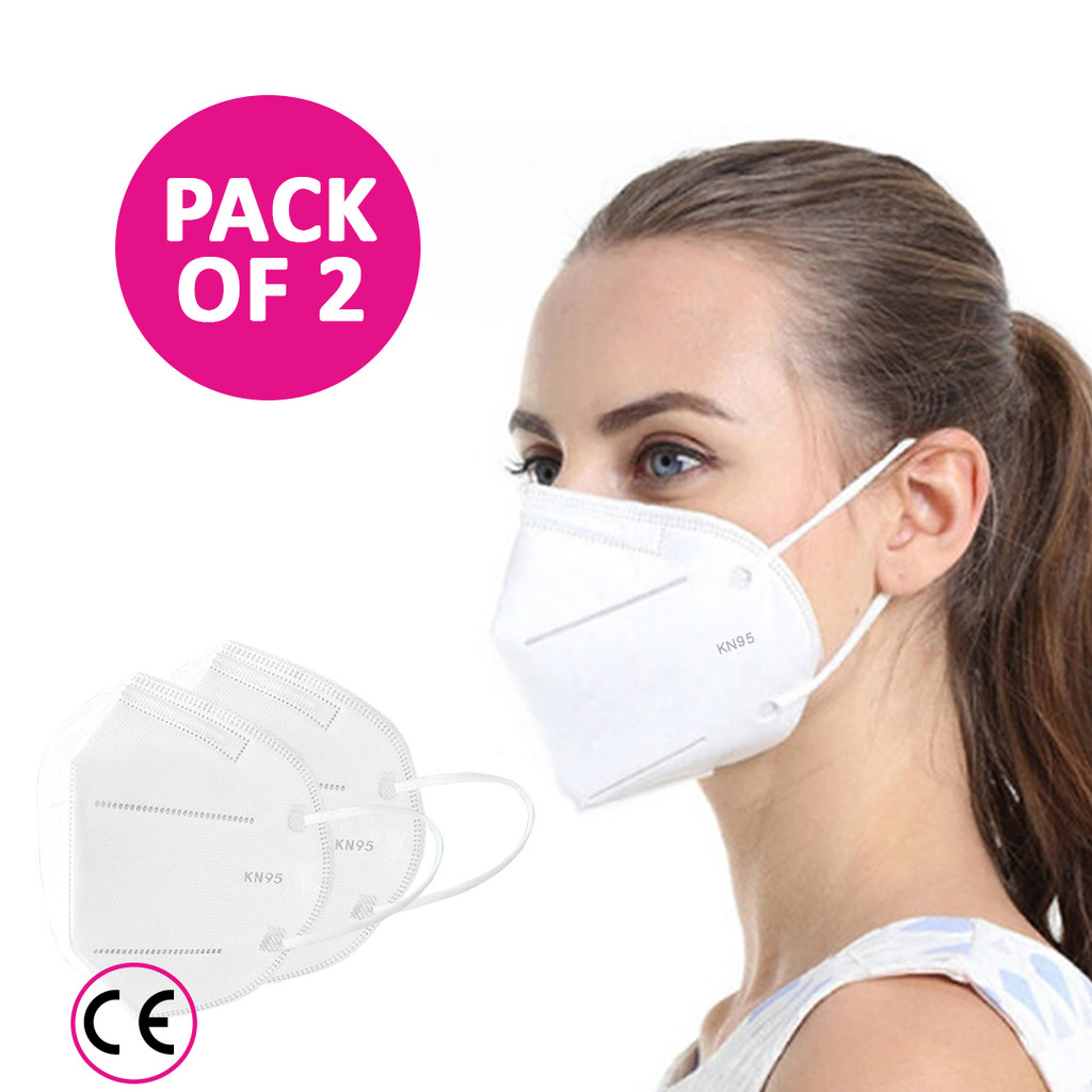 Face Mask KN95 Medical Grade - 5 Ply (Pk of 2) Ideal for You and Your Birthing Partner