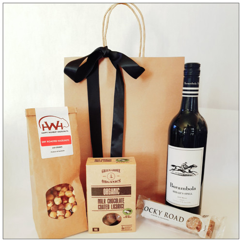 Great gift for Fathers Day filled with red wine, dry roasted hazelnuts, chocolate coated licorice and rocky road