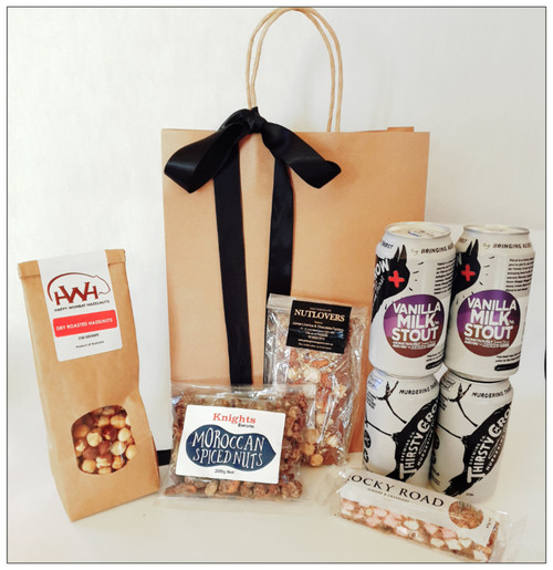 Plenty of Riverina faves in this great gift! Craft beer, dry roasted hazelnuts, moroccan spice nuts, rocky road and nutlovers chocolate block
