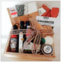 The grande home essentials gift box! Featuring cheese board, wooden spoon, table olives, olive oil, hot sauce, balsamic drizzle, zecca pasta, salts and peppers, dukkah, tea towel, dry roasted hazelnuts