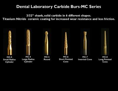 "Dental Lab Burs Solid Carbide MC Series, 3/32"" shank, titanium nitride coating"