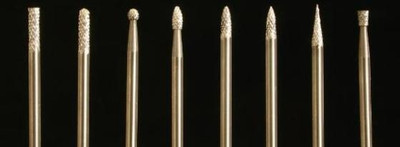 """One piece solid Carbide, uncoated burs. 3/32"""" shanks, Double-Cut only. 8 shapes"""