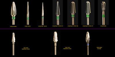 "Komet brand premium grade Tungsten Carbide dental lab burs, 3/32"" shanks."