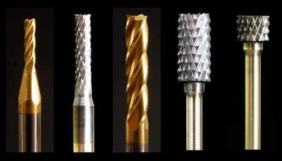 "Industrial Carbide Bur, SB cylinder shape, 1/8"" shank, titanium nitride coating"