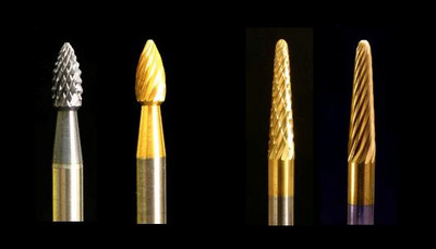 "Industrial carbide Burs, SH Flame and SL Radius Cone shapes, 1/8"" shank."