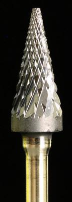 Industrial carbide bur, SM Pointed Cone shape titanium coated, power carving bur