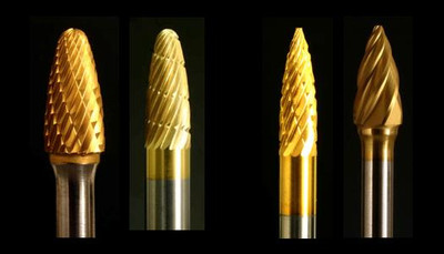 "Industrial Carbide Burs, Tree and Pointed Tree shapes, 1/4"" shanks"