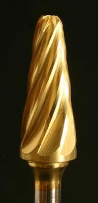 "Industrial Bur, Radius Cone shape, 1/4"" shank, power carving bur."