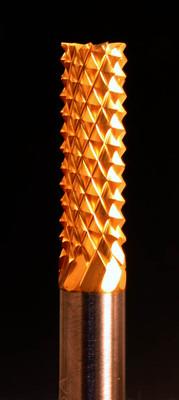 "1/4"" Fiberglass bur for shaping, carving and cutting non-metallic materials.  Titanium Nitride coating."