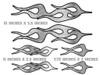 Devil's Tails - Flame decals - Silver Foil - 6pc set