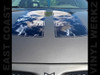 Hood Decals - Racing Stripes - skull in black fire with pinstripe 2 pc set