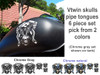 """V twin skulls pipe tongues 6 piece set pick from 2 colors shown on the side of the tank is the large 5"""" x 5"""" piece  in chrome gray"""
