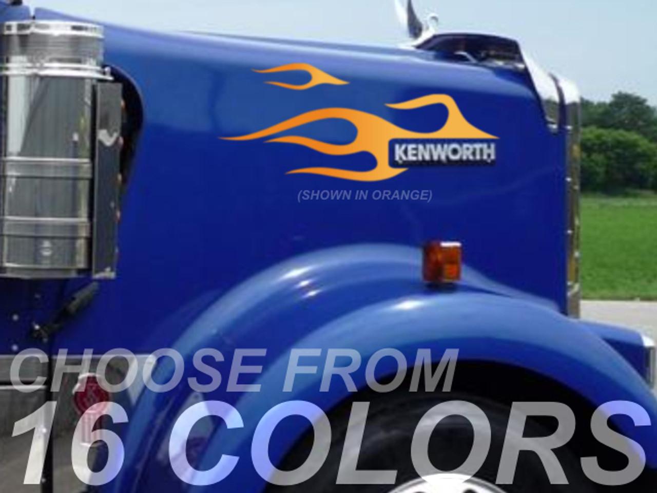 Kenworth W900 - Hood Badge Flame kit - 4pc set