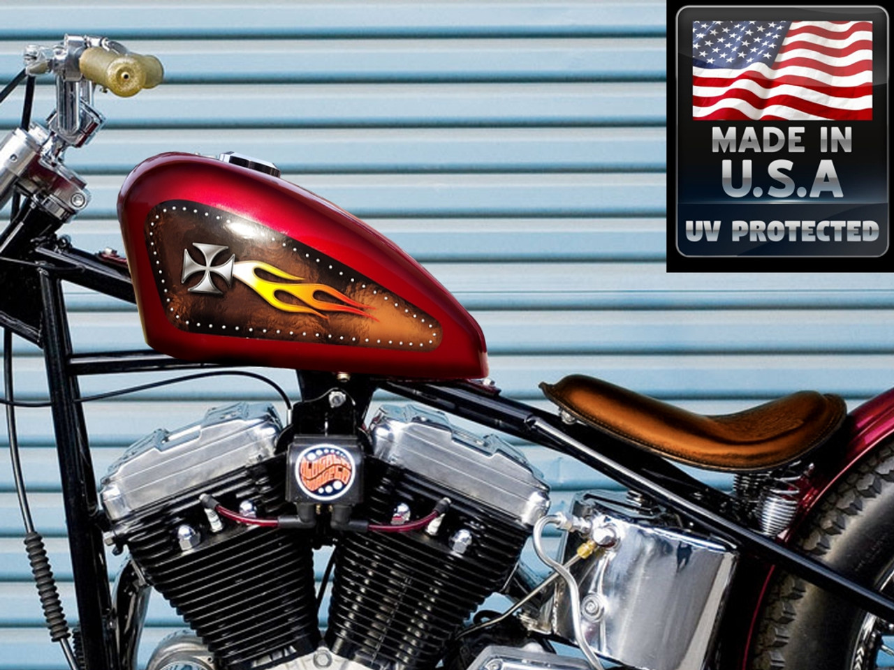 Riveted Iron Cross On Brown Leather W White Hot Fire Flame 2pc Tank Decal Set
