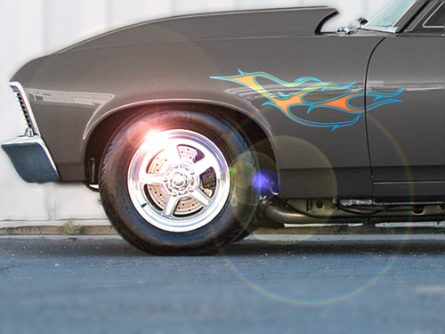 Slash stripe flame decals on Chevy Nova
