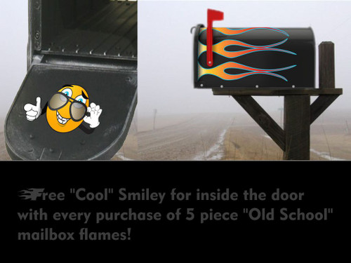 "5 Piece Set of ""Old School"" Mailbox hotrod flames (White Hot Fire)"