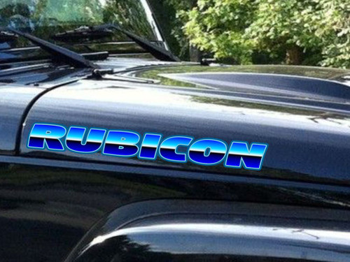 Jeep Rubicon Hood Decals -  'Polished'  - 2pc set - Chose Color
