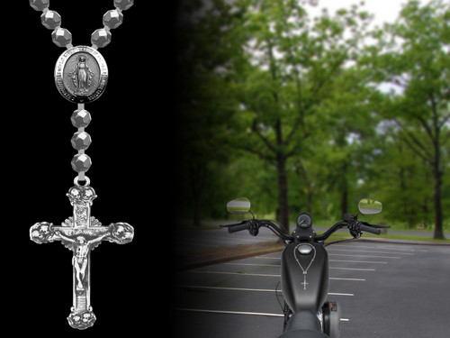 Rosary (Rosario) for motorcycle gas tank (silver beads)