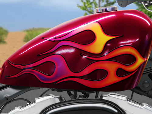Devil tail 6 pc flame set tangerine/plum with Airbrushed look for harley sportster