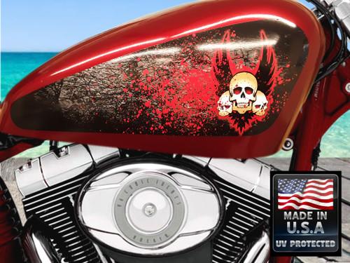 Blood Splattered Winged Skulls  - 3pc Tank Decal set