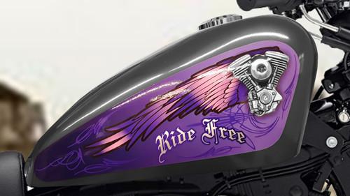 V-twin Wings (Purple) - 3pc Tank decal set