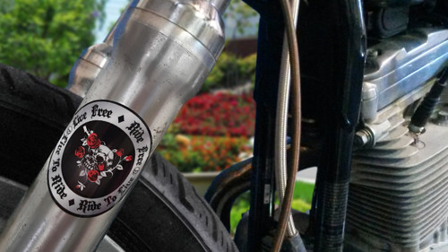 Skull / Roses (round)- Motorcycle Fork Decals  - 2pc set