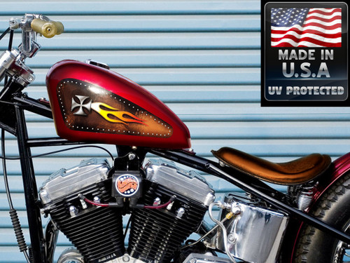 Riveted Iron Cross on Brown leather (w/white hot fire Flame) - 2pc Tank decal set