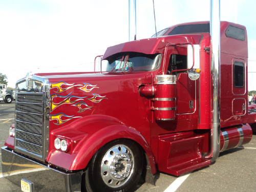 Airbrushed look  fire tribal flames with chrome .  Shown installed on kenworth  also fits peterbilt trucks and mack