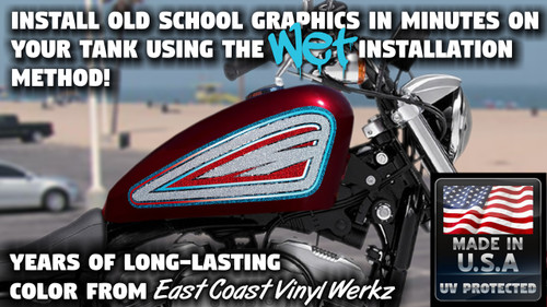 Old School -  blue white red- 2 pc - Sportster tank panels
